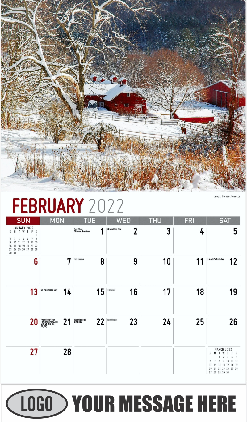 Lenox, Massachusetts - February - Scenes of America 2022 Promotional Calendar
