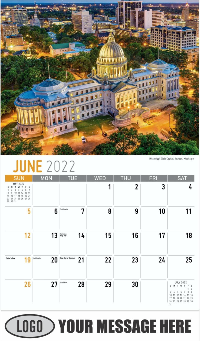Mississippi State Capitol, Jackson, Mississippi - June - Scenes of America 2022 Promotional Calendar