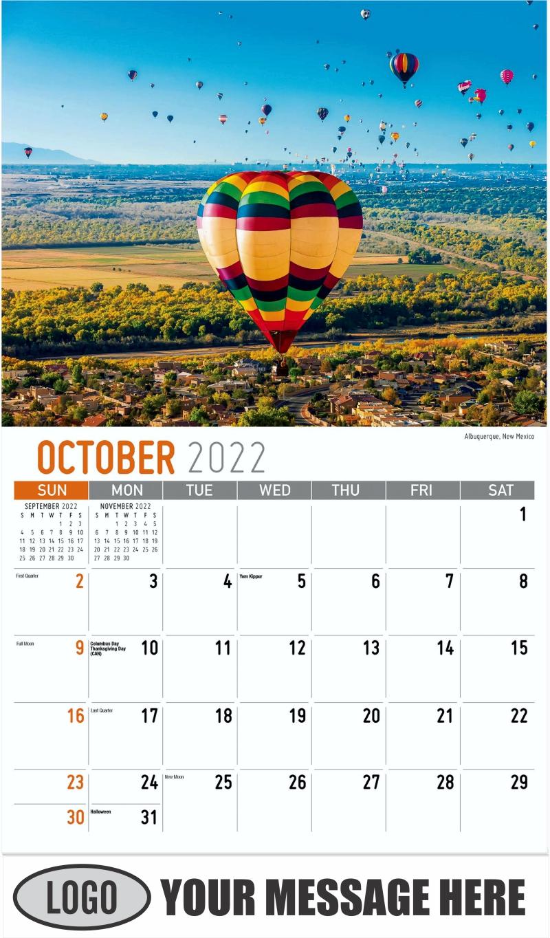Albuquerque, New Mexico - October - Scenes of America 2022 Promotional Calendar