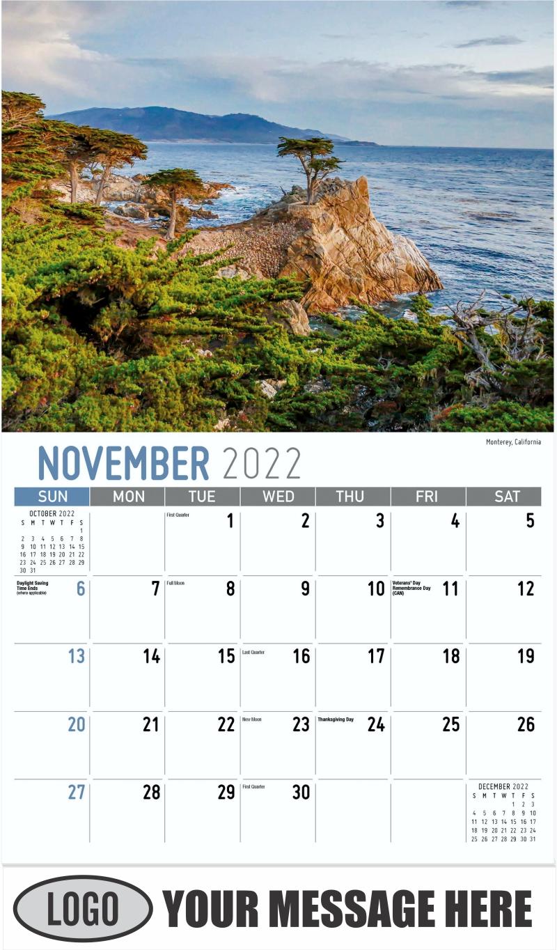 Monterey, California - November - Scenes of America 2022 Promotional Calendar