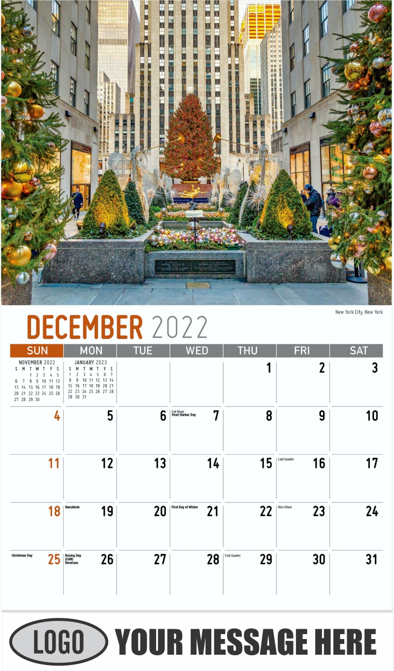 New York City, New York - December 2022 - Scenes of America 2022 Promotional Calendar