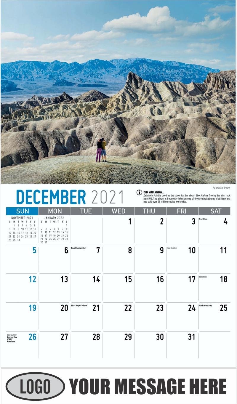 Zabriskie Point - December 2021 - Scenes of California 2022 Promotional Calendar