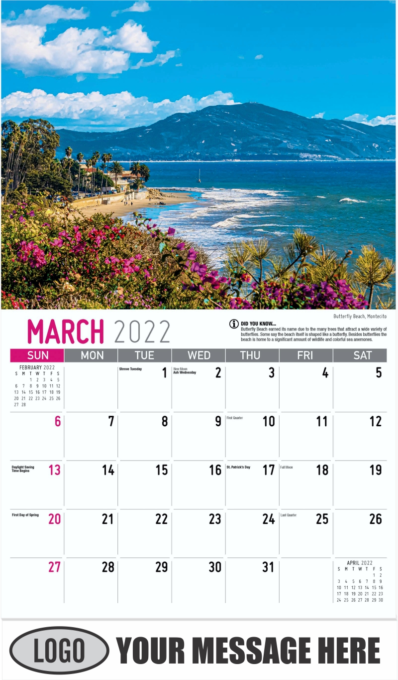 Butterfly Beach, Montecito, - March - Scenes of California 2022 Promotional Calendar