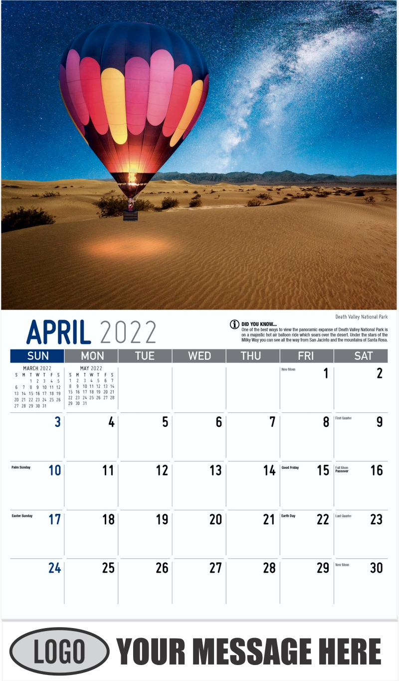 Death Valley National Park - April - Scenes of California 2022 Promotional Calendar