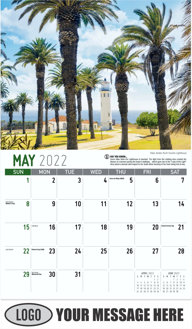 Palas Verdes Point Vicente Lighthouse - May - Scenes of California 2022 Promotional Calendar