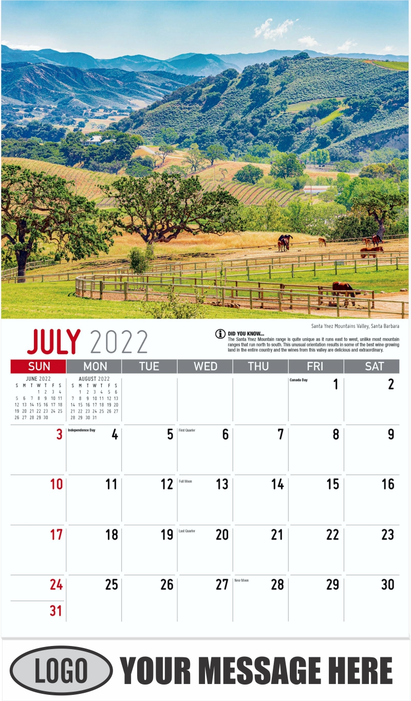 Santa Ynez Mountains Valley, Santa Barbara - July - Scenes of California 2022 Promotional Calendar