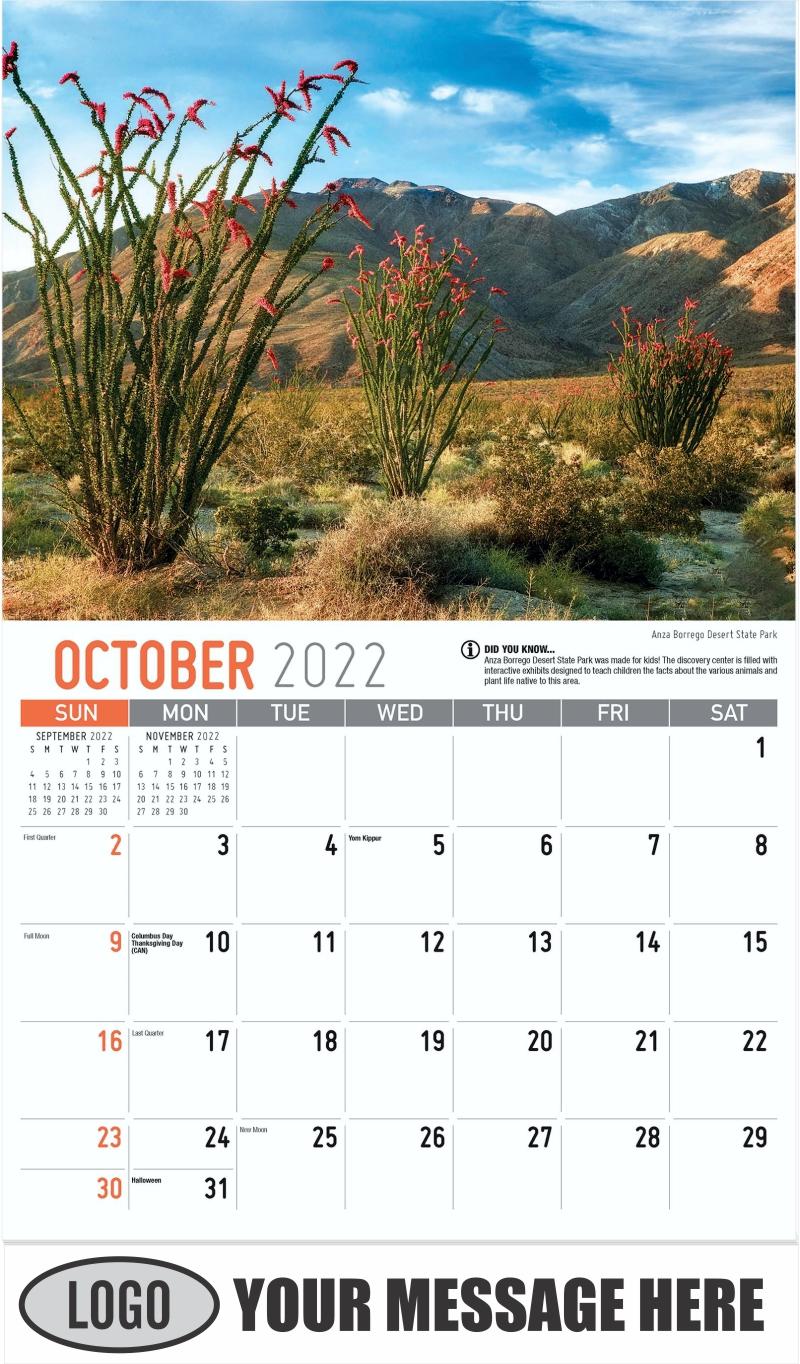 Anza Borrego Desert State Park - October - Scenes of California 2022 Promotional Calendar