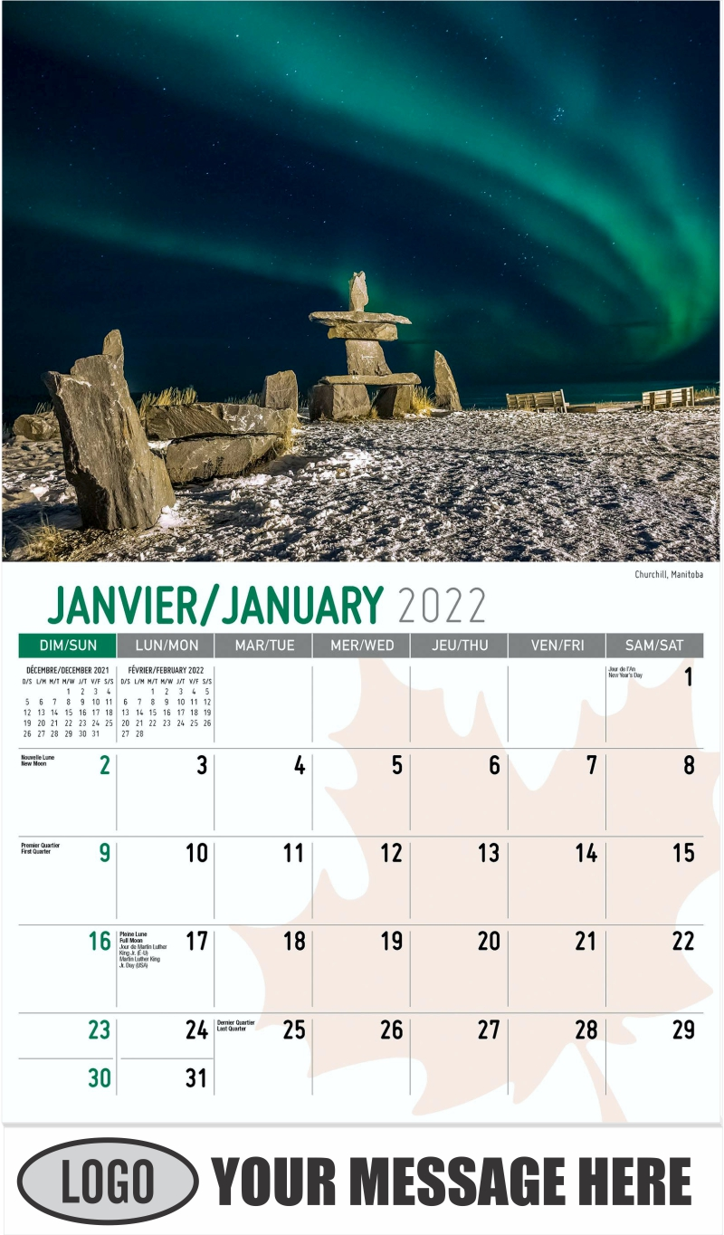 Churchill, Manitoba - January - Scenes of Canada(French-English bilingual) 2022 Promotional Calendar