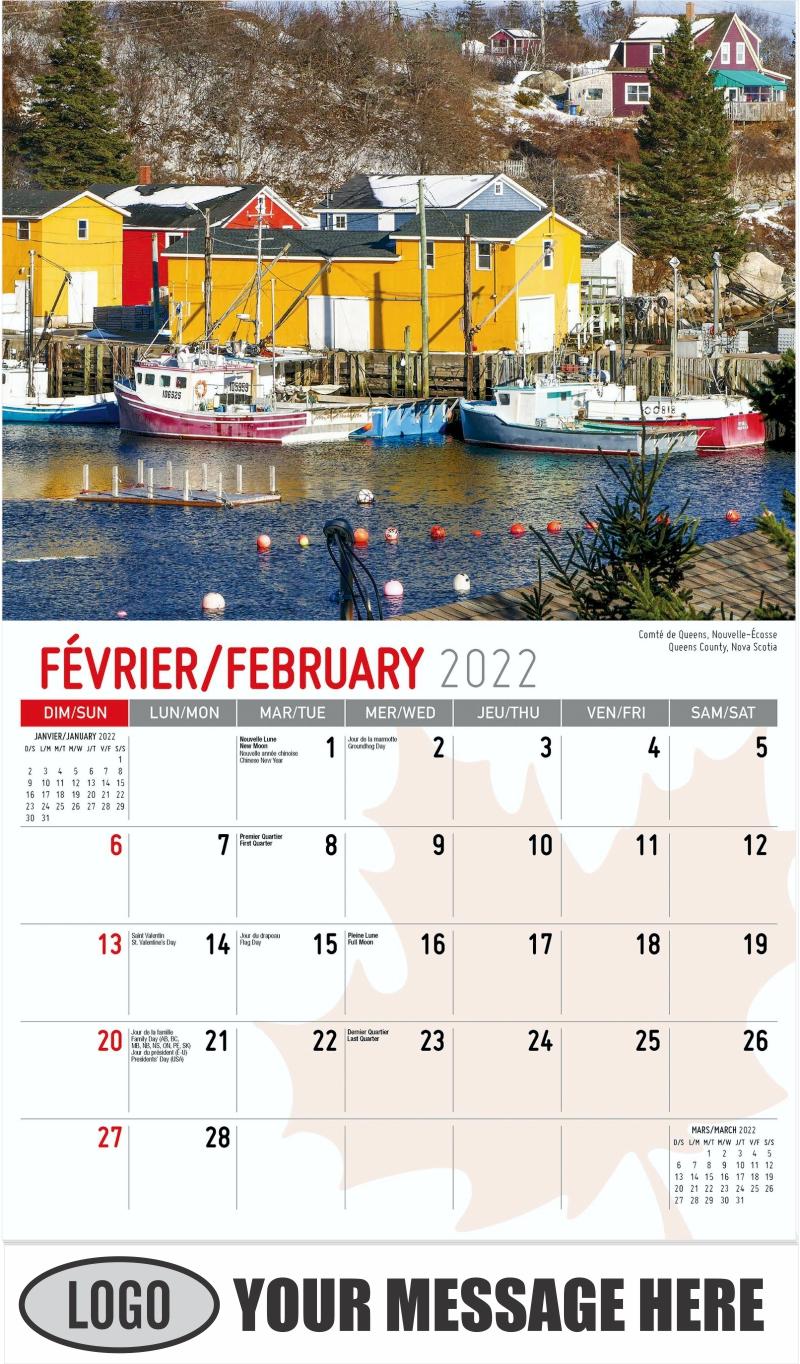 Queens County, Nova Scotia Comté de Queens, Nouvelle-Écosse - February - Scenes of Canada(French-English bilingual) 2022 Promotional Calendar