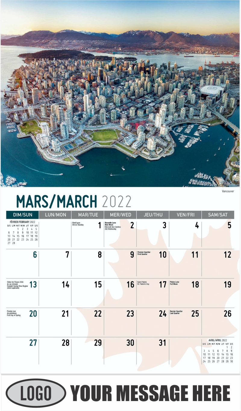 Vancouver - March - Scenes of Canada(French-English bilingual) 2022 Promotional Calendar