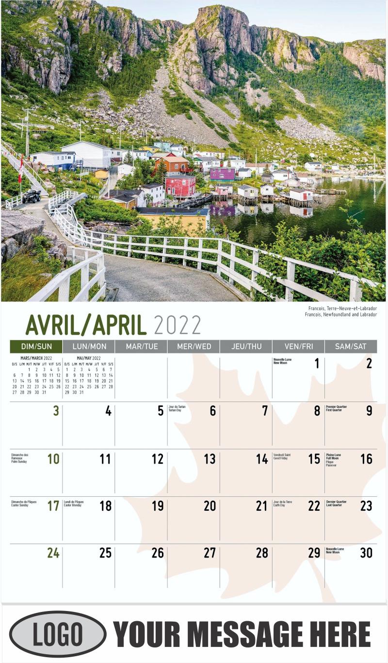 Francois, Newfoundland and Labrador Francois, Terre-Neuve-et-Labrador - April - Scenes of Canada(French-English bilingual) 2022 Promotional Calendar