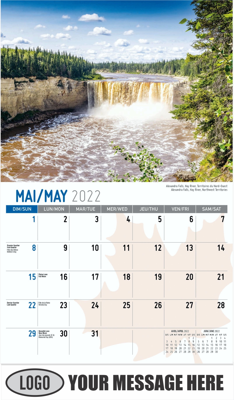 Alexandra Falls, Hay River, Northwest Territories Alexandra Falls, Hay River, Territoires du Nord-Ouest - May - Scenes of Canada(French-English bilingual) 2022 Promotional Calendar
