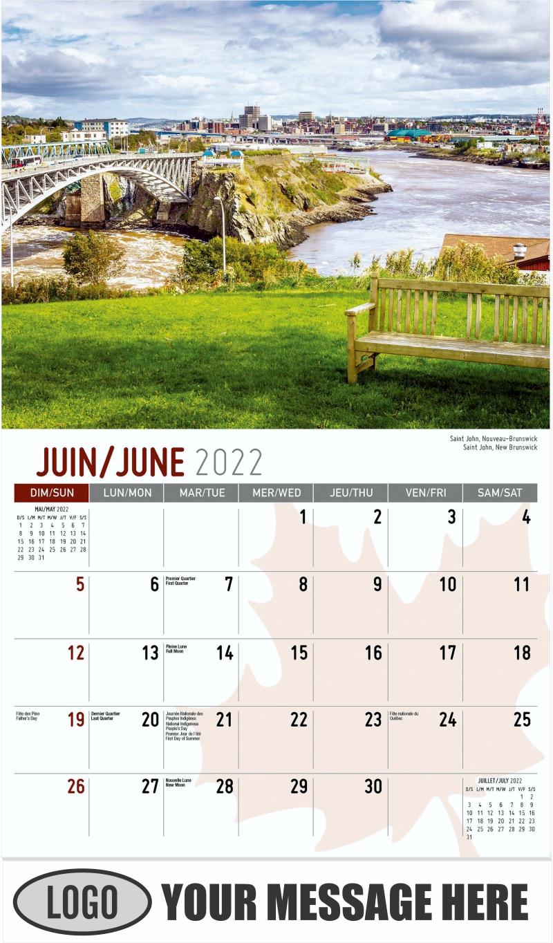 Saint John, New Brunswick Saint John, Nouveau-Brunswick - June - Scenes of Canada(French-English bilingual) 2022 Promotional Calendar