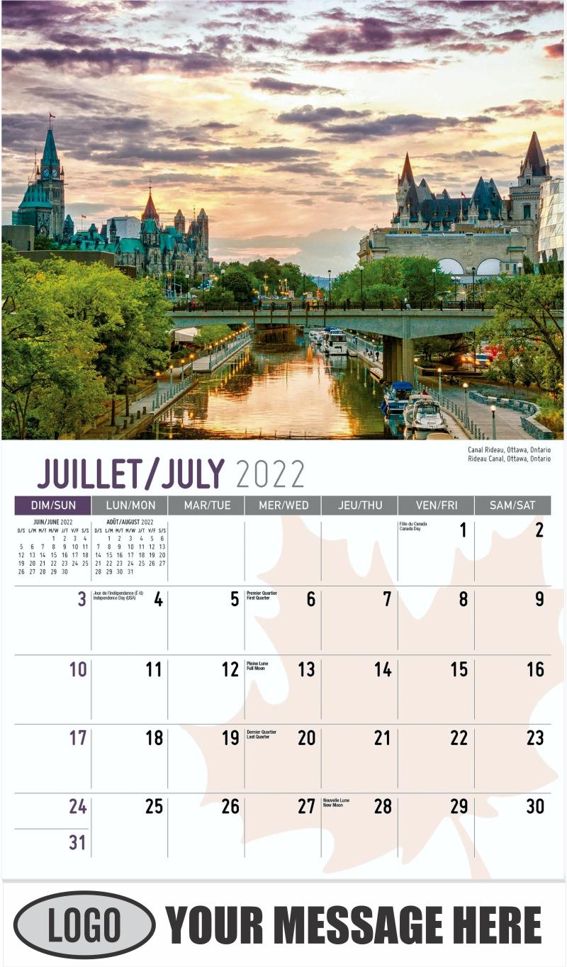 Rideau Canal, Ottawa, Ontario Canal Rideau, Ottawa, Ontario - July - Scenes of Canada(French-English bilingual) 2022 Promotional Calendar