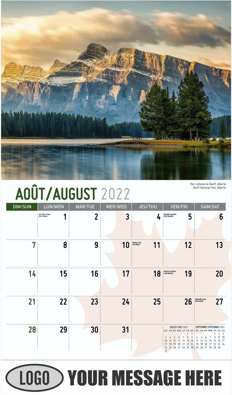 Banff National Park, Alberta  Parc national de Banff, Alberta - August - Scenes of Canada(French-English bilingual) 2022 Promotional Calendar