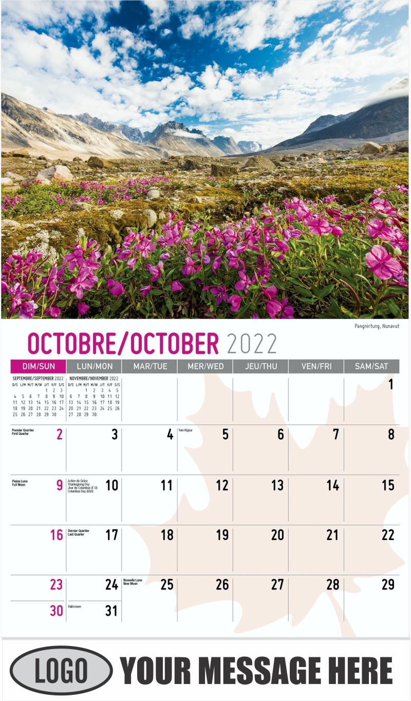 Pangnirtung, Nunavut - October - Scenes of Canada(French-English bilingual) 2022 Promotional Calendar
