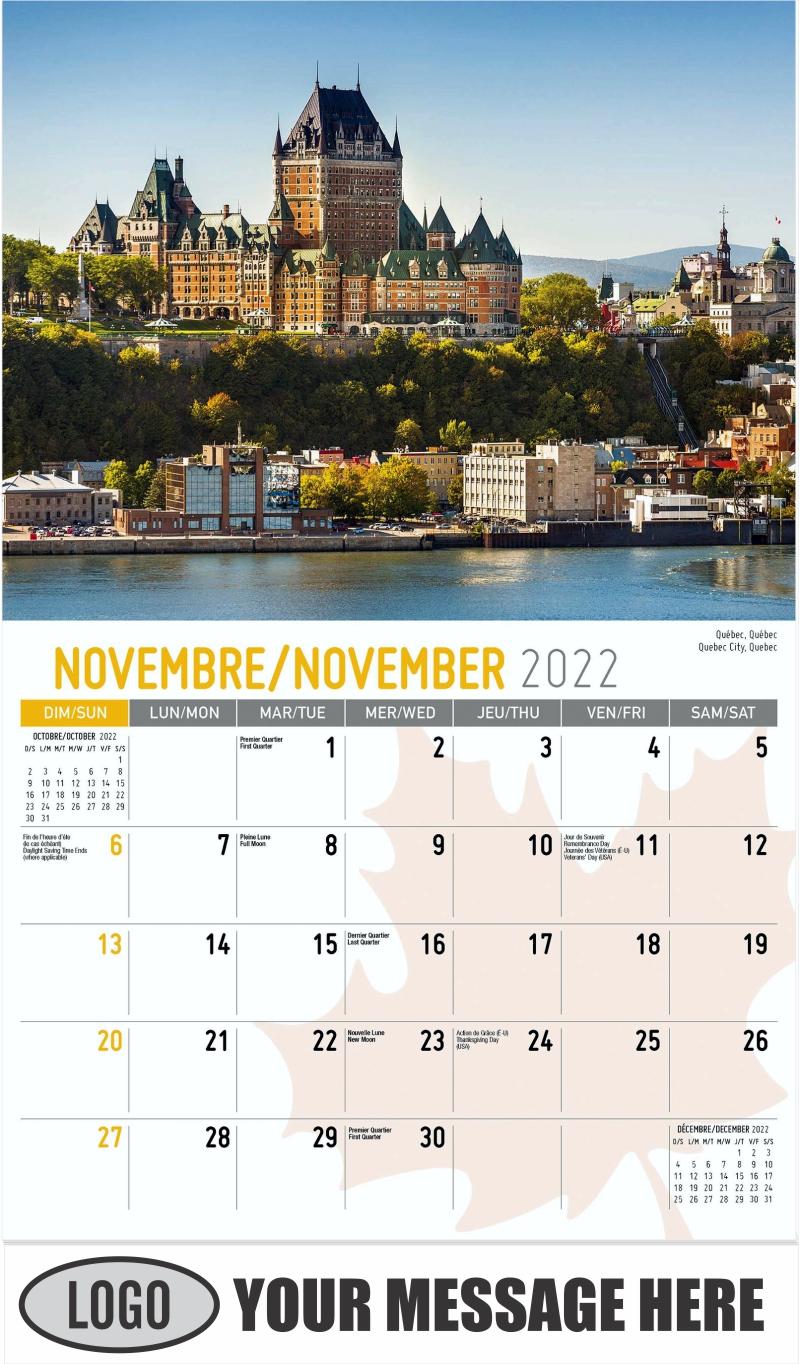 Quebec City, Quebec Québec, Québec - November - Scenes of Canada(French-English bilingual) 2022 Promotional Calendar