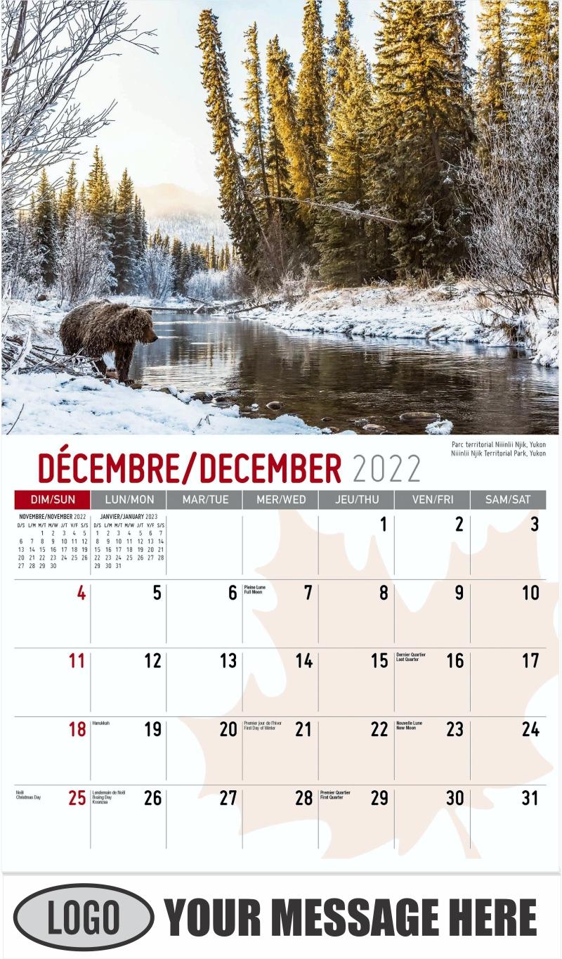 Niiinlii Njik Territorial Park, Yukon - December 2022 - Scenes of Canada(French-English bilingual) 2022 Promotional Calendar