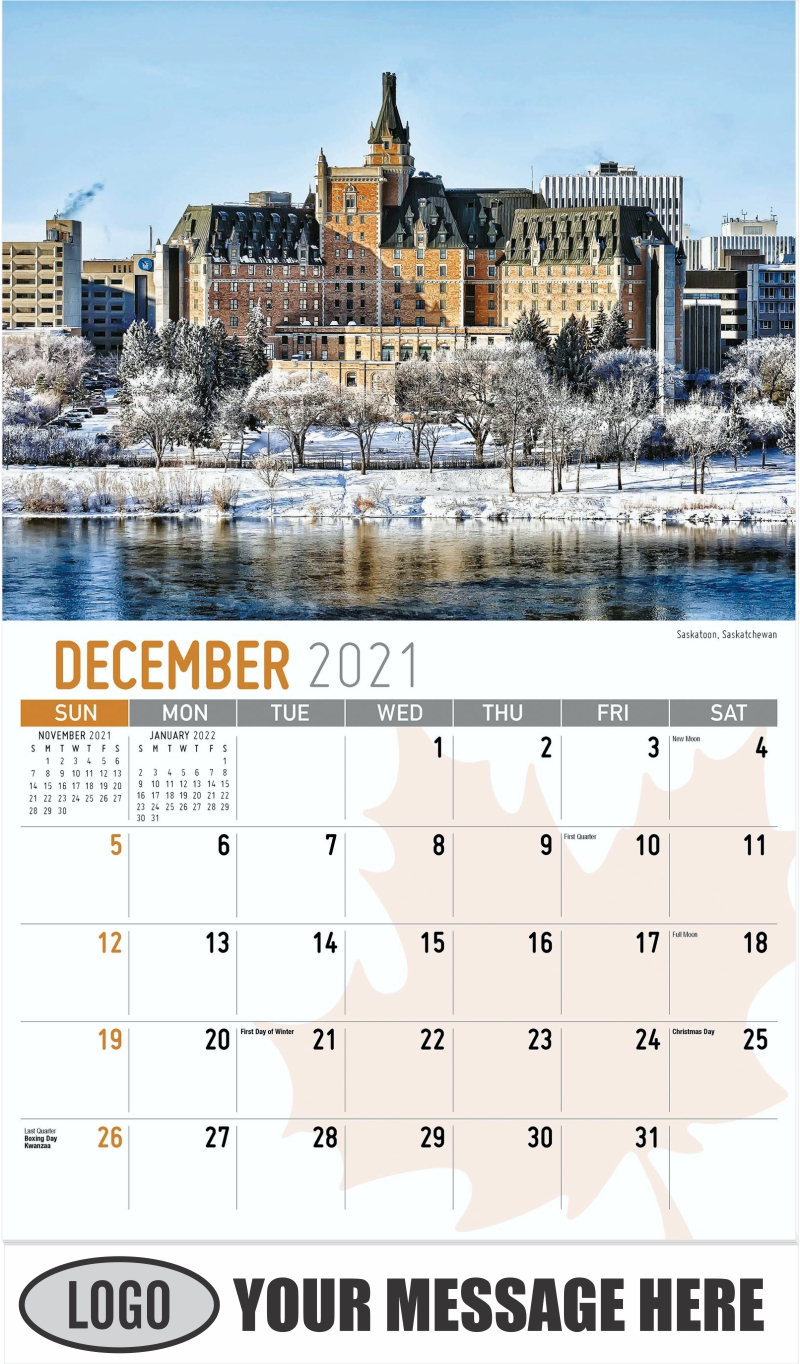 Vancouver, British Columbia - December 2021 - Scenes of Canada 2022 Promotional Calendar