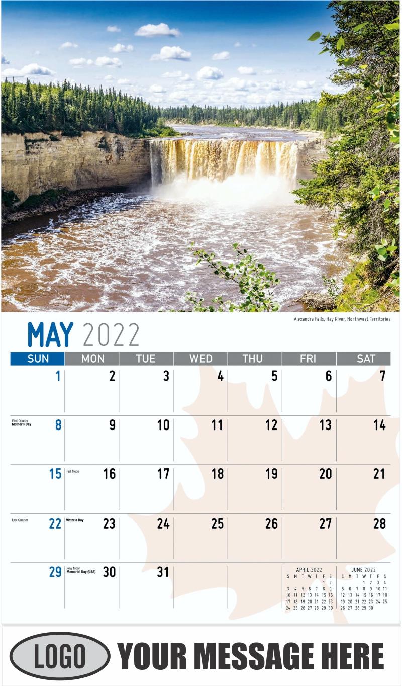 Alexandra Falls, Hay River, Northwest Territories - May - Scenes of Canada 2022 Promotional Calendar