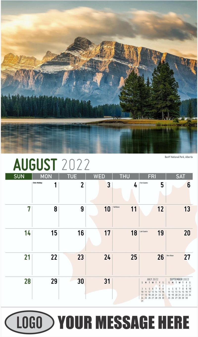 Banff National Park, Alberta  Parc national de Banff, Alberta - August - Scenes of Canada 2022 Promotional Calendar