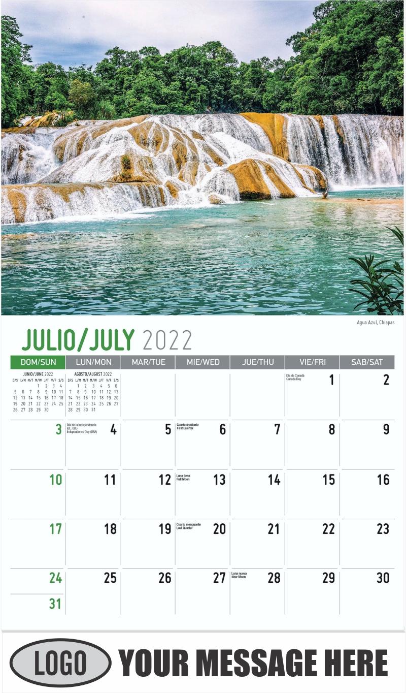 Agua Azul, Chiapas - July - Scenes of Mexico (Spanish-English bilingual) 2022 Promotional Calendar