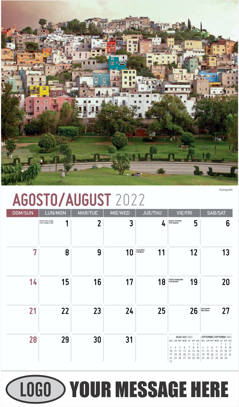 Guanajuato - August - Scenes of Mexico (Spanish-English bilingual) 2022 Promotional Calendar