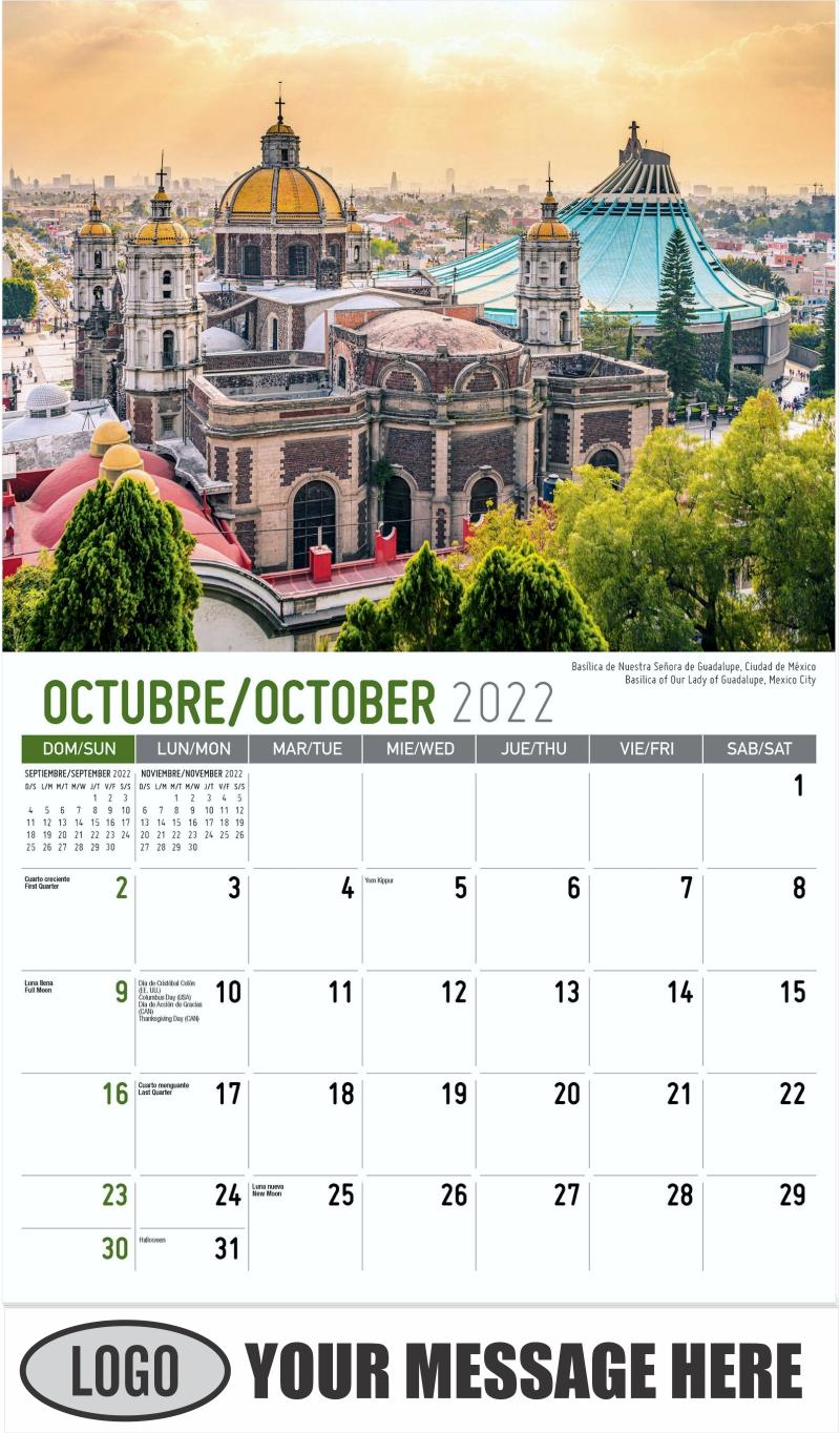 Basilica of Our Lady of Guadalupe, Mexico City  Basílica de Nuestra Señora de Guadalupe, Ciudad de México. - October - Scenes of Mexico (Spanish-English bilingual) 2022 Promotional Calendar
