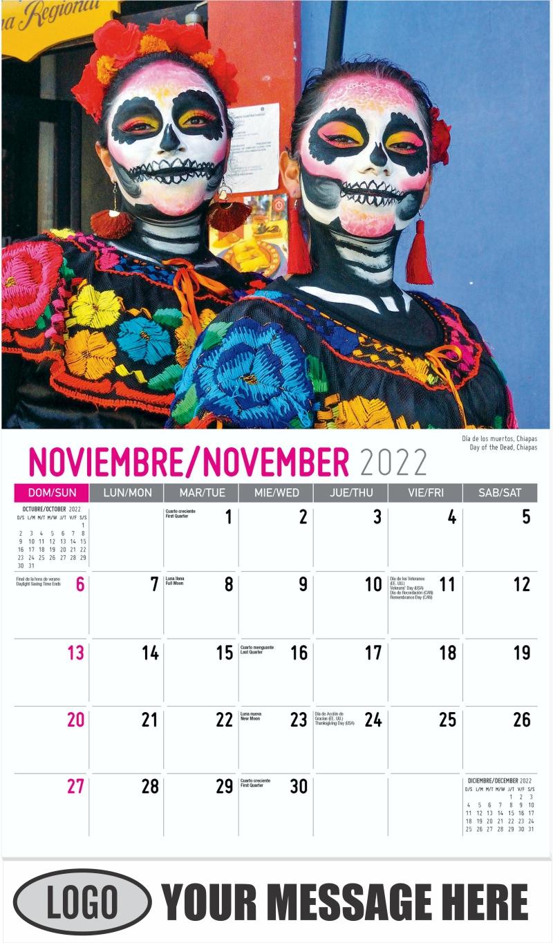 Day of the Dead, Chiapas Día de los muertos, Chiapas - November - Scenes of Mexico (Spanish-English bilingual) 2022 Promotional Calendar
