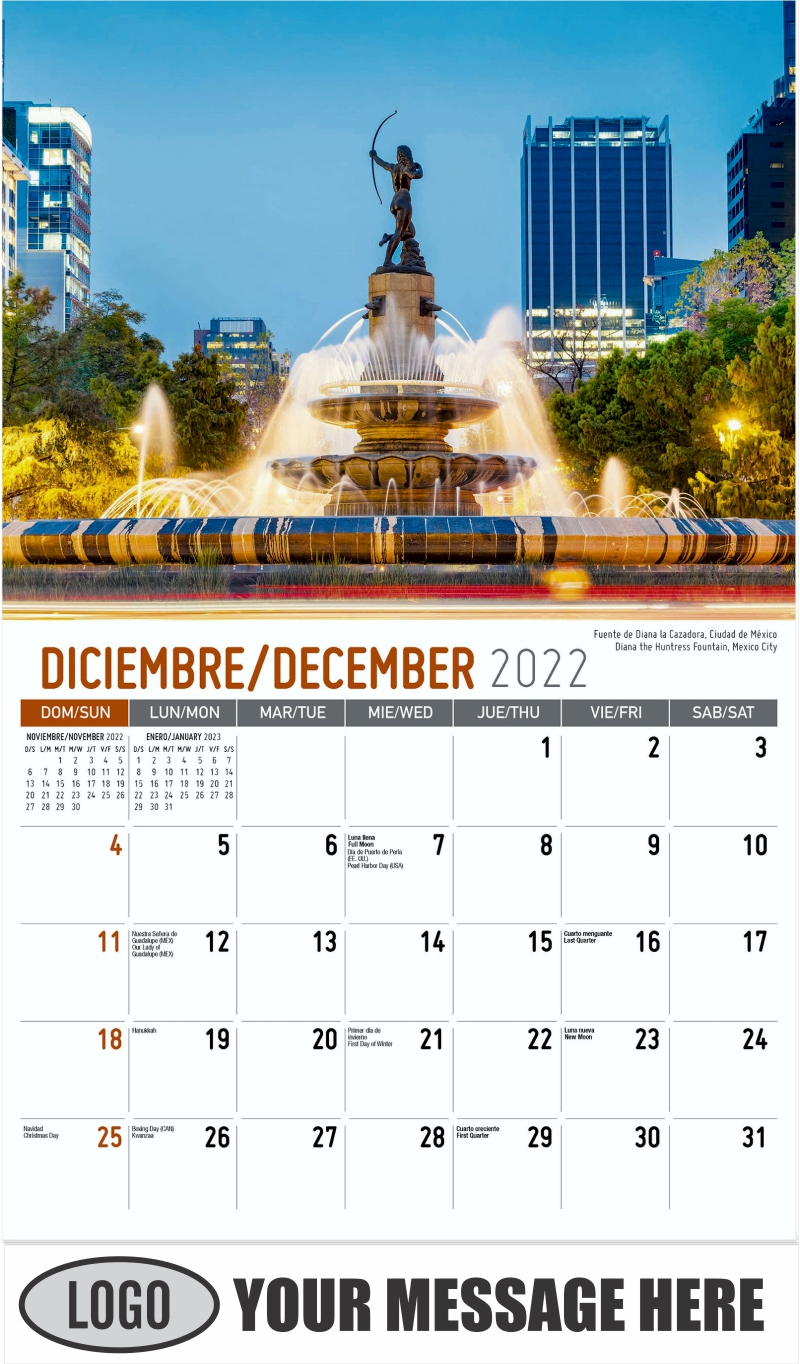 Diana the Huntress Fountain, Mexico City  Fuente de Diana la Cazadora, Ciudad de México - December 2022 - Scenes of Mexico (Spanish-English bilingual) 2022 Promotional Calendar