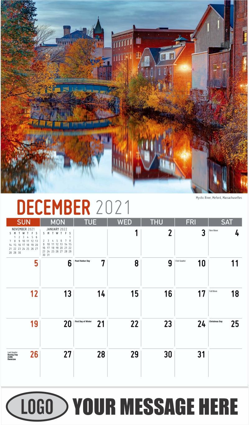 Mystic River, Medford, Massachusettes - December 2021 - Scenes of New England 2022 Promotional Calendar