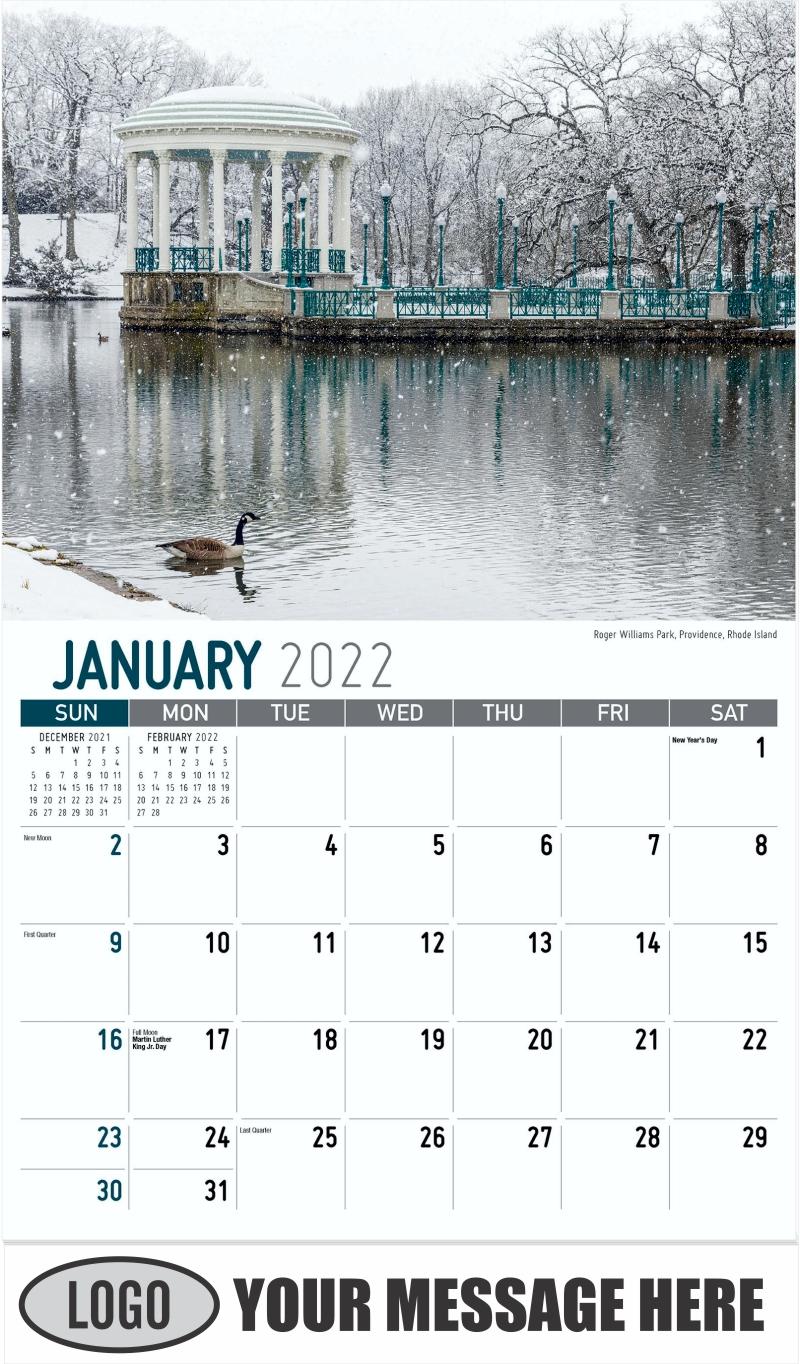 Roger Williams Park, Providence, Rhode Island - January - Scenes of New England 2022 Promotional Calendar
