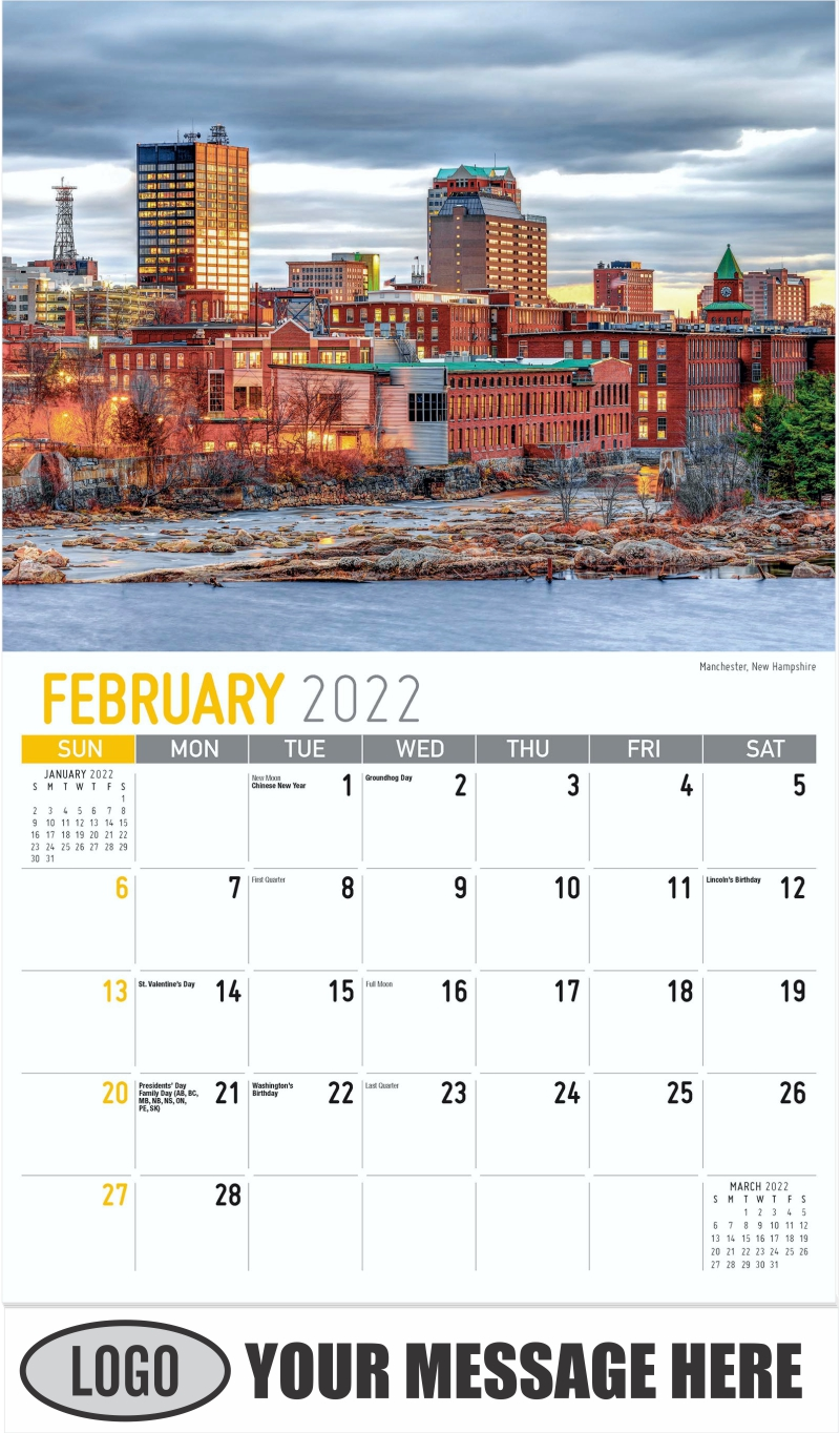 Manchester, New Hampshire - February - Scenes of New England 2022 Promotional Calendar