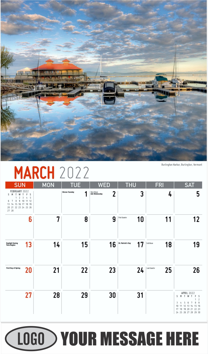 Burlington Harbor, Burlington, Vermont - March - Scenes of New England 2022 Promotional Calendar