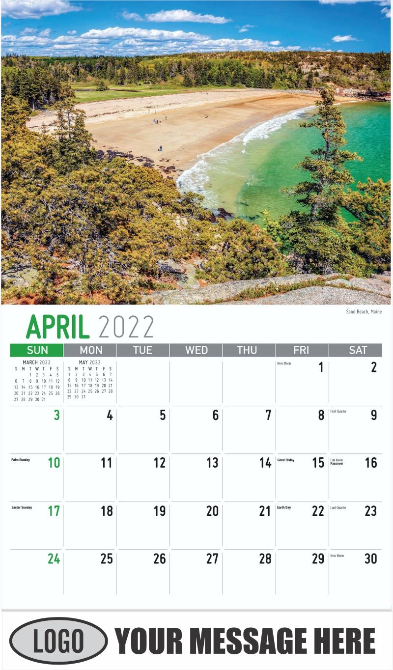 Sand Beach, Maine - April - Scenes of New England 2022 Promotional Calendar