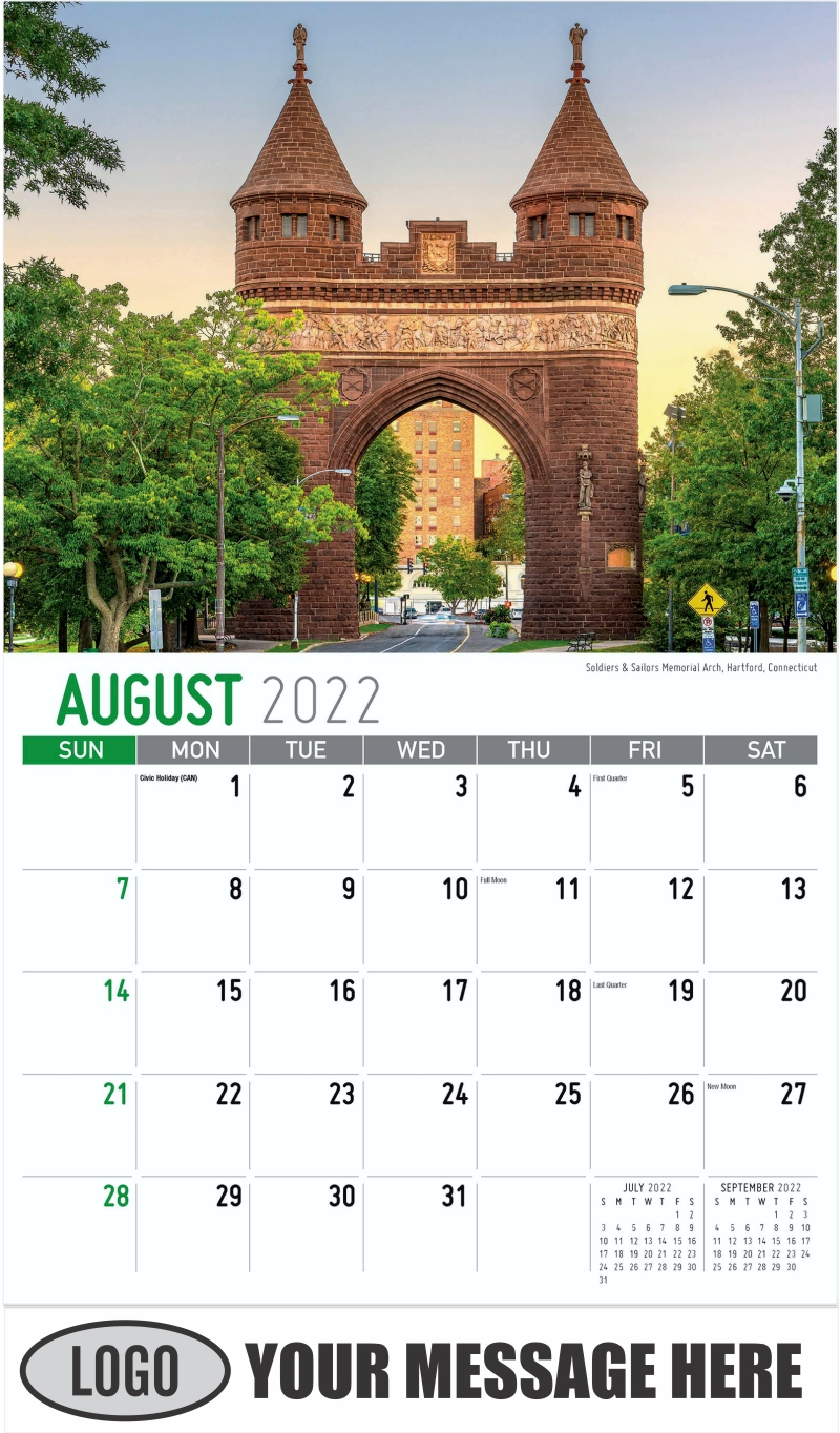 Soldiers & Sailors Memorial Arch, Hartford, Connecticut - August - Scenes of New England 2022 Promotional Calendar