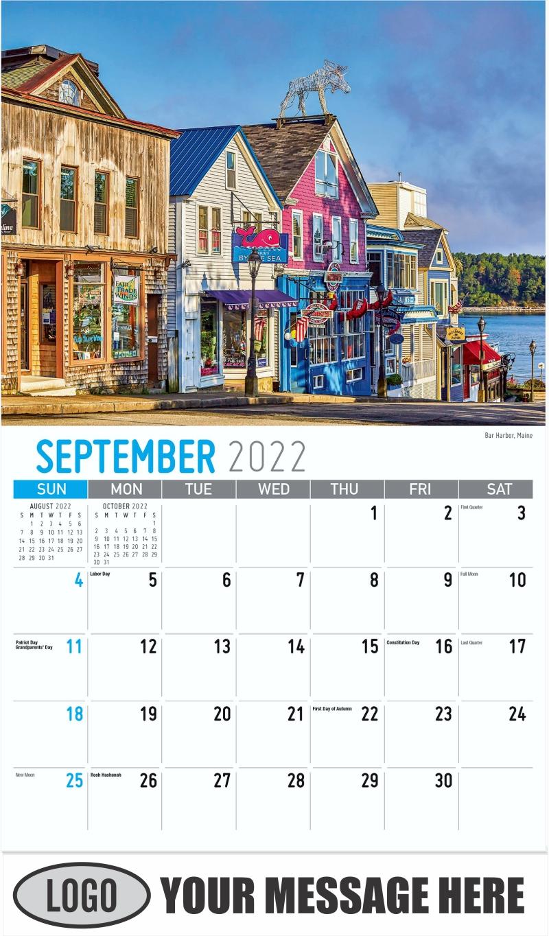 Bar Harbor,Acadia National Park,Maine - September - Scenes of New England 2022 Promotional Calendar