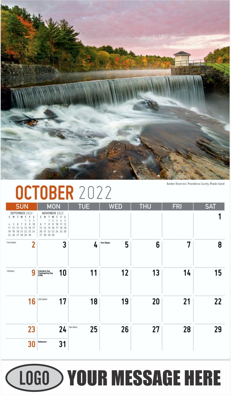 Barden Reservoir, Providence County, Rhode Island - October - Scenes of New England 2022 Promotional Calendar