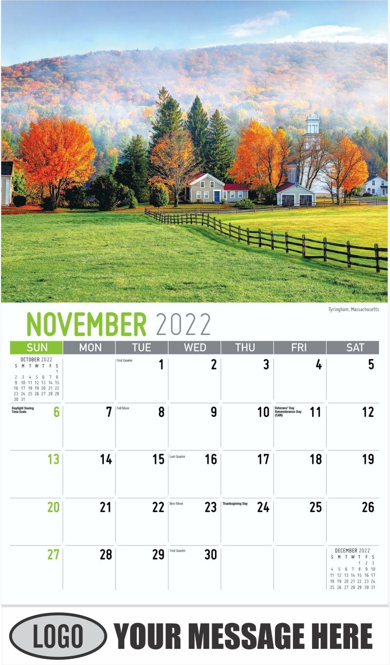 Tyringham, Massachusetts - November - Scenes of New England 2022 Promotional Calendar