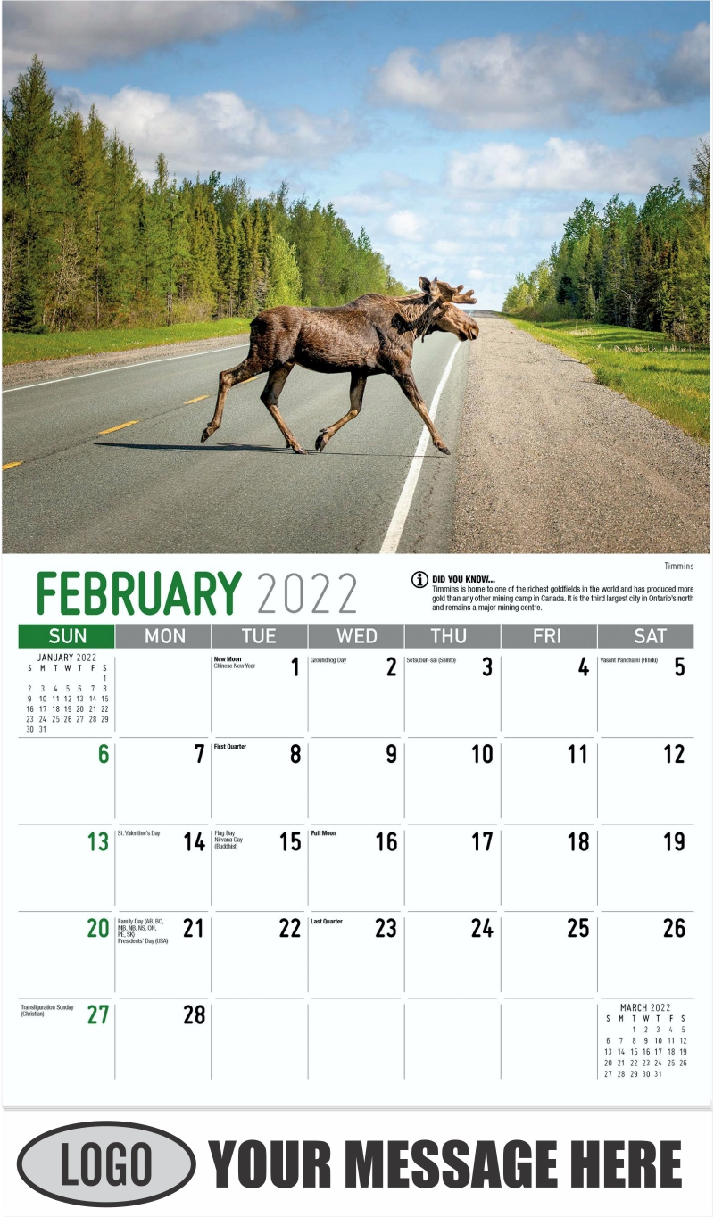 Timmins - February - Scenes of Ontario 2022 Promotional Calendar