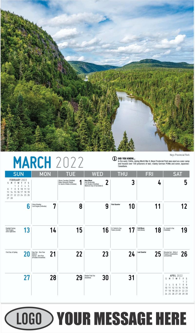 Neys Provincial Park - March - Scenes of Ontario 2022 Promotional Calendar