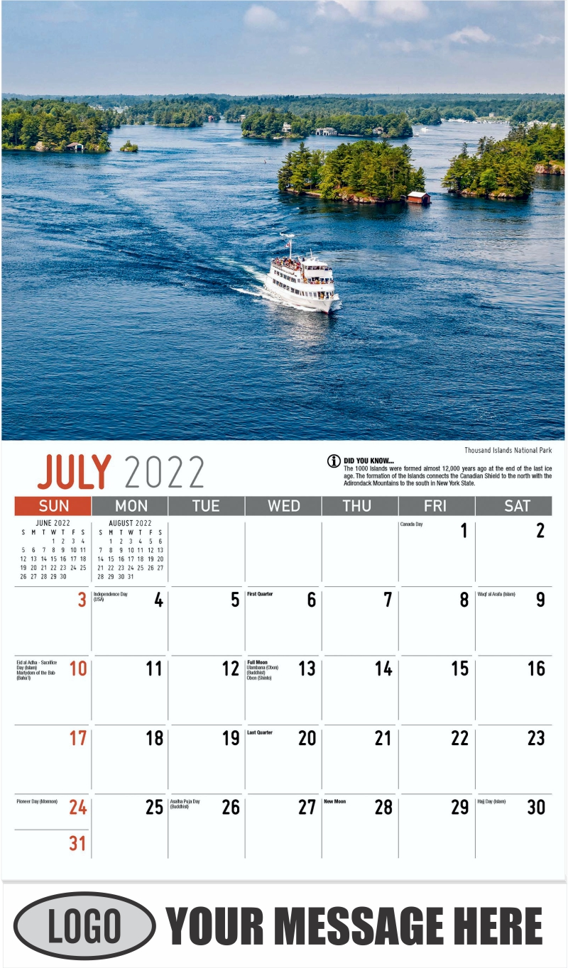 Thousand Islands National Park - July - Scenes of Ontario 2022 Promotional Calendar