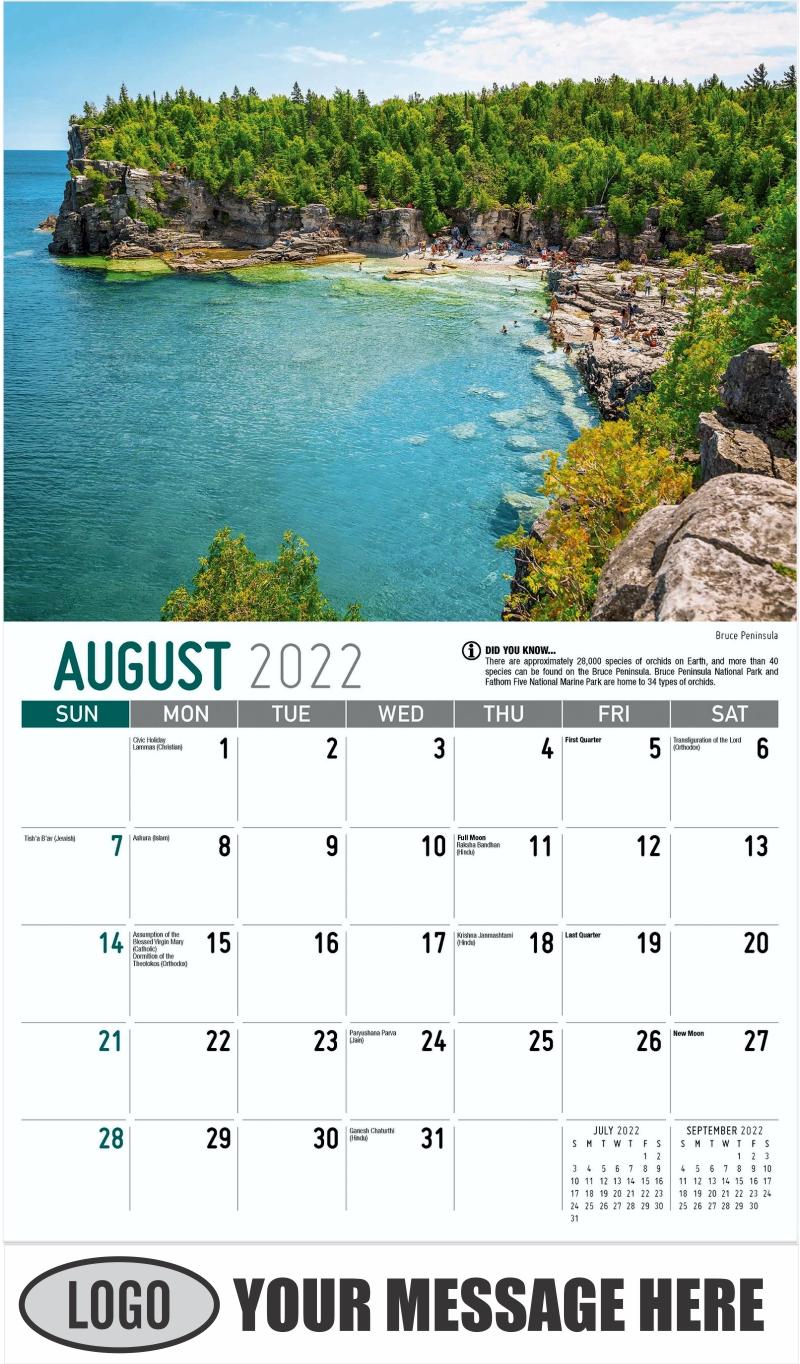 Bruce Peninsula - August - Scenes of Ontario 2022 Promotional Calendar