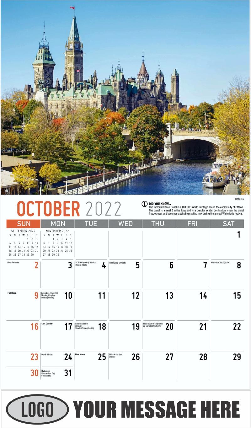 Ottawa - October - Scenes of Ontario 2022 Promotional Calendar