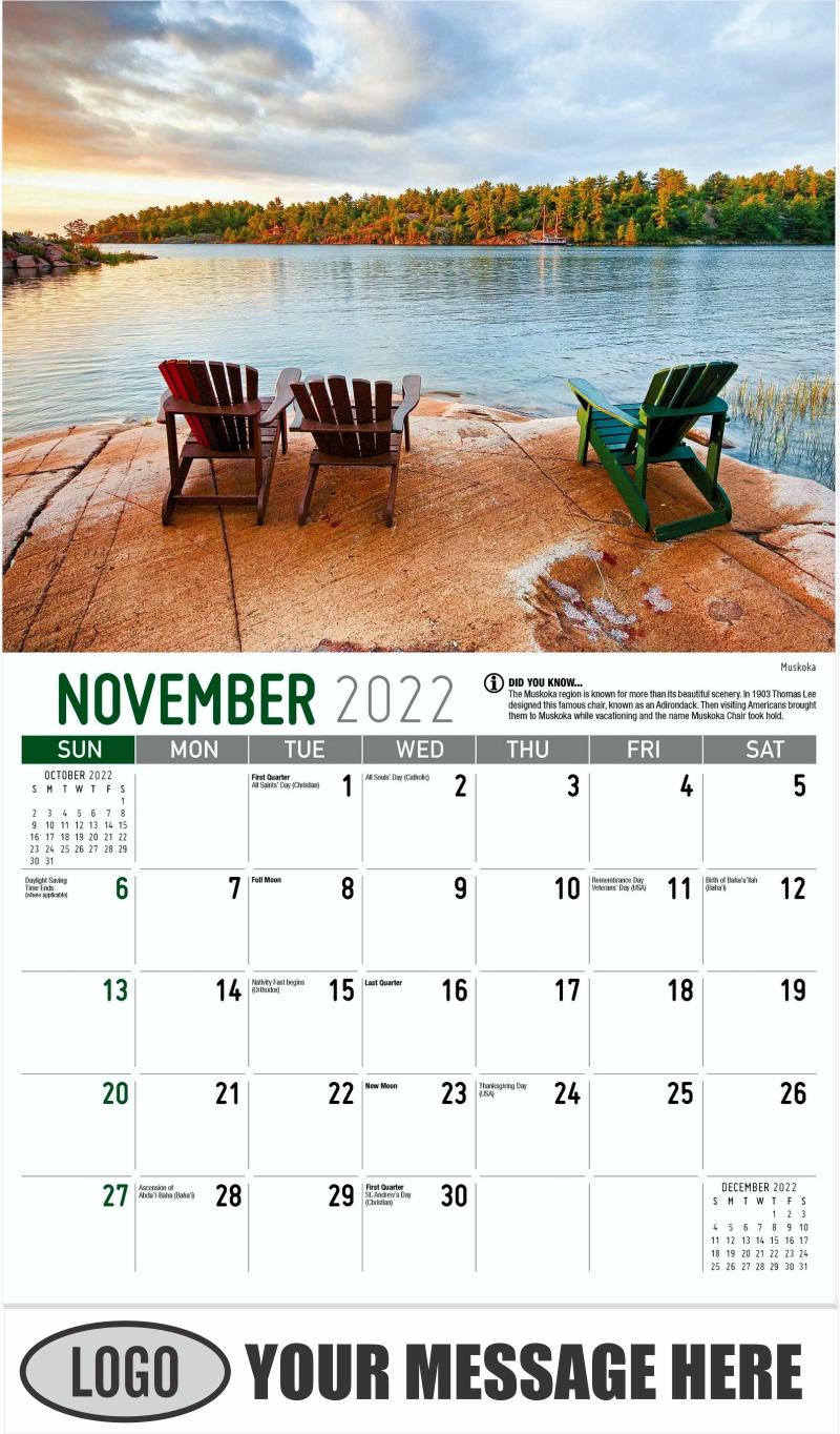 Muskoka - November - Scenes of Ontario 2022 Promotional Calendar