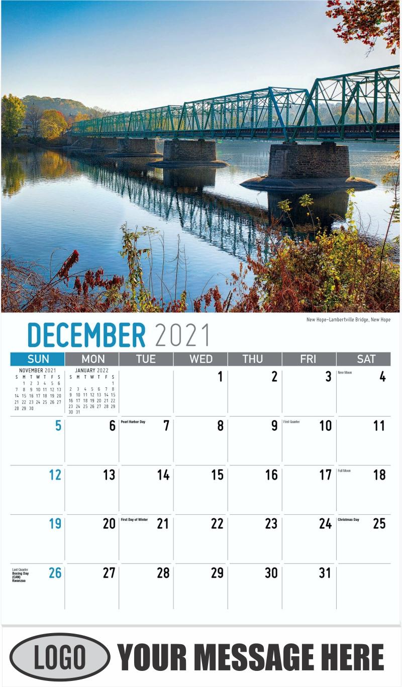 New Hope-Lambertville Bridge, New Hope - December 2021 - Scenes of Pennsylvania 2022 Promotional Calendar