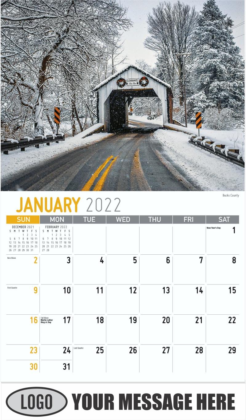 Bucks County - January - Scenes of Pennsylvania 2022 Promotional Calendar