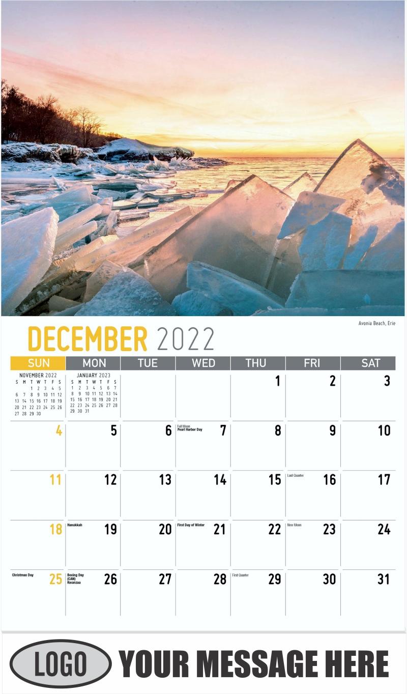 Avonia Beach, Erie - December 2022 - Scenes of Pennsylvania 2022 Promotional Calendar