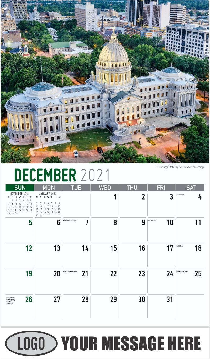 Mississippi State Capitol, Jackson, Mississippi - December 2021 - Scenes of Southeast USA 2022 Promotional Calendar