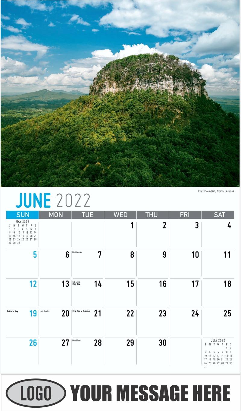 Pilot Mountain, North Carolina - June - Scenes of Southeast USA 2022 Promotional Calendar